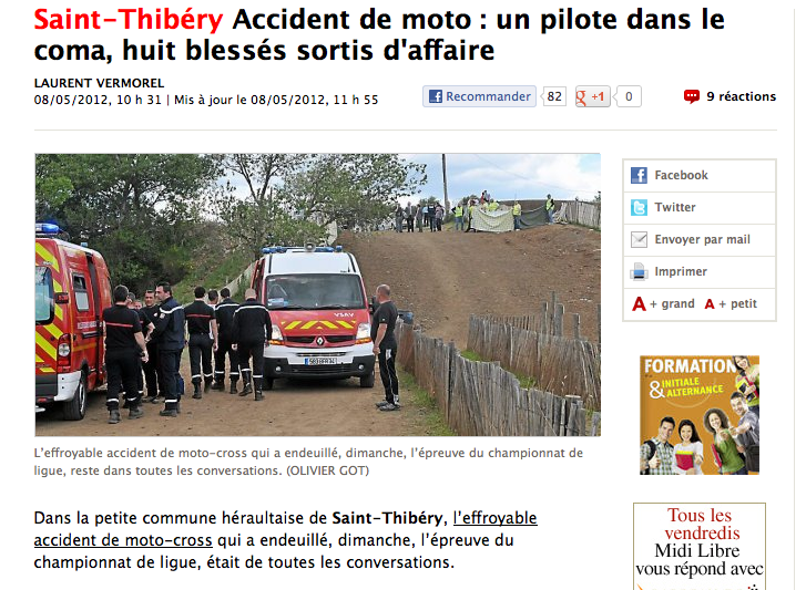 Accident De Moto Cross Les Regles De Securite Auraient Ete