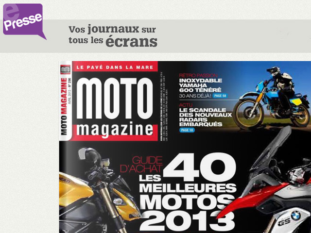 e presse moto magazine consultable dans le monde moto magazine leader de l actualit. Black Bedroom Furniture Sets. Home Design Ideas