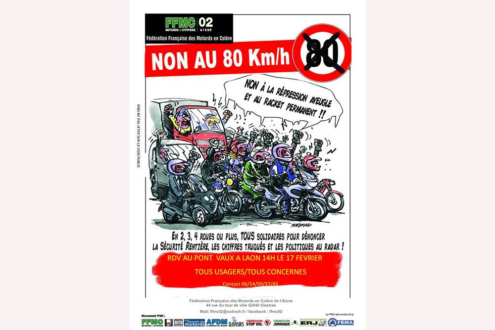 manifestation laon de la ffmc02 contre le 80 km h moto magazine leader de l actualit de. Black Bedroom Furniture Sets. Home Design Ideas