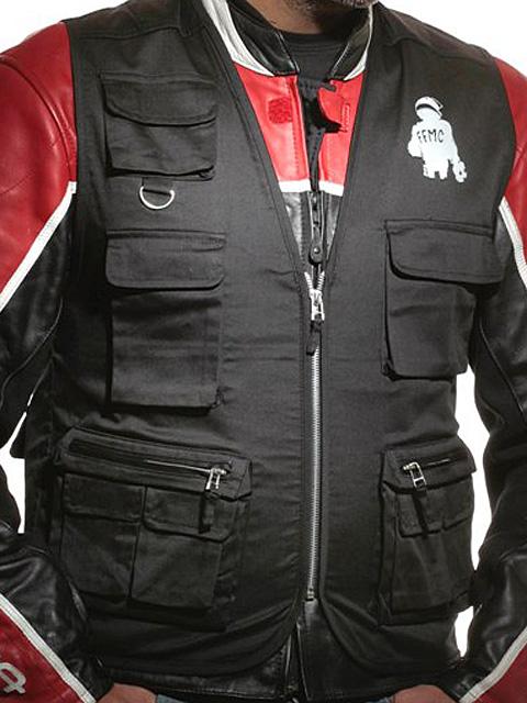Zicac Blouson Moto Homme Jacket Cuir Veste Multi Poches