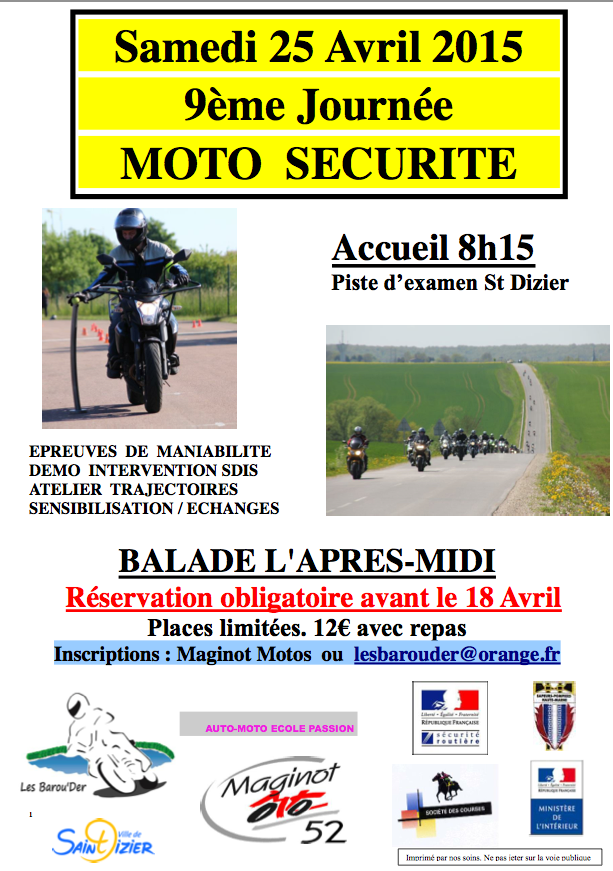 Journ e moto s curit moto magazine leader de l - Inscription 12 coups de midi numero de telephone ...
