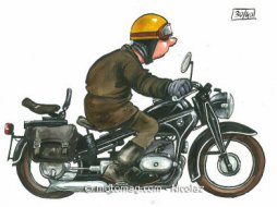 Bd moto les dessins originaux de nikolaz sur e bay moto magazine leader de l actualit de - Dessin motard humoristique ...