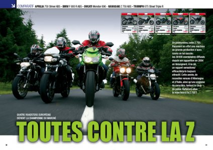 Moto ma octobre 2009 : comparatif roadsters
