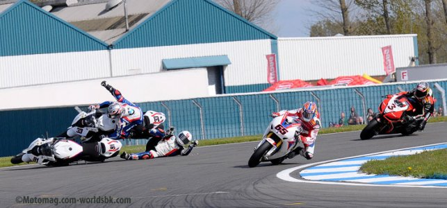 WSBK Donington : le double crash BMW
